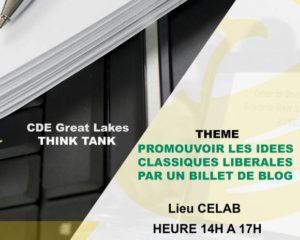 Habiliter les blogueurs du Club de la Radio France Internationale Bujumbura à la promotion des idées classiques libérales à travers un billet de blog.  C'est demain au CELAB de 14h à 17h.  #Marché_libre #Liberté_individuelle #Propriété_Privée #état_de_droit #Gouvernement_limité #EndPoverty